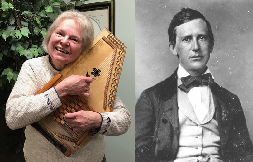 Charlene Thomas with autoharp on left and a black and white photo of Stephen Foster on the right